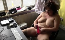 Horny brunette and chubby MILF Laura Louise solo pleasure