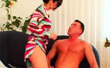Babe gets her mouth and fur pie drilled in domination fetish
