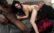 Hot brunette gets a big black cock