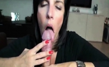 Eating cum from hubbies long dick