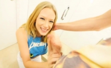 Big breasts blonde sucks off and fucked in toilet room