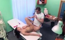 Redhead masturbates with sex toy in hospital