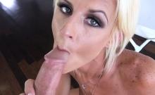 Blonde mature stepmom in hot lingerie sucks a long dick