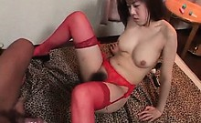 Busty Asian slut in stockings pussy smashed by her sex slave