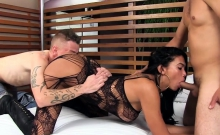 Sexy shamble gets nasty with two guys She gives nice
