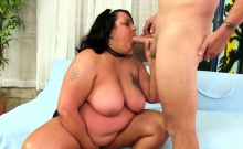 Brunette BBW plays with her guys dick He sucks her tits She