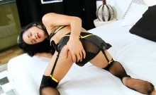 Big boobies shemale masturbates her hard cock in bed