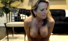 Skinny blonde with nice boobs toying