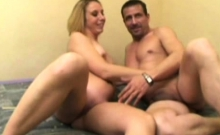 French blonde Cassandra fucked in a threesome