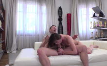 Teen brunette Sarah Smith sucked and fucked by Roccos cock