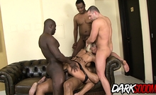 Blonde woman Cathy Inez gets all holes filled in a gangbang