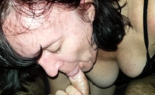 Big breasted mature giving handjob to lucky dude POV