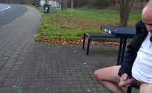 German Daddy Wanking Outdoor