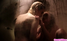 Teen licks dorm manager in the shower