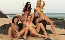 4 Babes Take Off Their String Bikinis