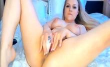 Naughty Blonde Babe Spreads her Legs and Masturbate