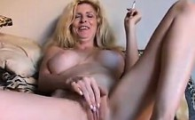 Mature Blonde Smokes And Masturbates