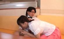 Asian lobby boy caught rubbing his dick gets a good blowjob