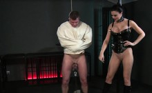 Dude in straight jacket ass plugged